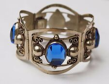 Vtg TAXCO STERLING MEXICO Mexican Silver BLUE facet cut Glass  Bracelet
