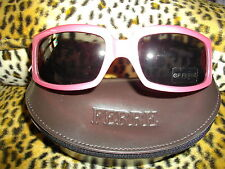 NEW GENUINE FAB * FERRE * PINK PLASTIC RECTANGLE FRAME 'GF' ARM LOGO SUNGLASSES