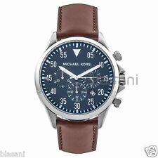 Michael Kors Original MK8362 Men's Gage Blue Dial Brown Leather Strap Watch