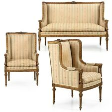 French Louis XVI Three Piece Suite, Chaise Sofa and Two Arm Chairs, 19th Century