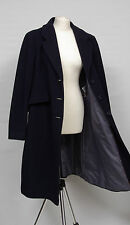 P1135/42 M&S by Nowa Fides Wool/Cashmere Italian Long Navy Coat, size 16