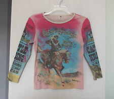 Belle Junior Size M Pullover Cowboy Riders Roundup Knit Top, long sleeves - USA