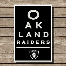 Oakland Raiders Poster Sports NFL Football Eyechart Art Print 12x16""