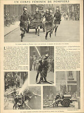 READING ENGLAND POMPIERS FEMININS FIRE WOMEN ARTICLE PRESSE 1931