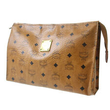 MCM Logos Pattern Clutch Hand Bag Brown PVC Leather Germany Authentic #6197 W