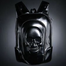 ByTheR Black Glossy Skull Embossing Backpack Dark 3D Solid unique P000BHLF