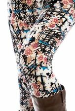 PLUS Size Pink Blue Floral Leggings Flowers Rose Printed Buttery Soft