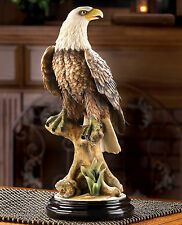 "EAGLES: 15"" Tall Impressive Perched Bald Mountain Eagle Statue NEW"