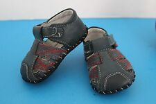 """PediPed Infant BABY Blue LEATHER Crib SHOES~""""Aaron"""" Fisherman Sandals~Size 0-6M"""