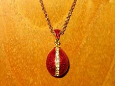 Russian FABERGE inspired RED ENAMEL & Swarovsky Crystals EGG pendant chain GIFT