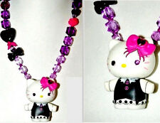 HELLO KITTY Art Bead STATEMENT NECKLACE RARE Lolita Doll Pendant BoW Charm Clasp