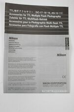 Nikon TTL Accessories SC-17/18/19+AS-10/11 Instruction Sheet+English+Original