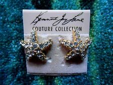 Kenneth Jay Lane Gold Plated Crystal Starfish Clip Earrings