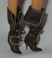 * SHOES ~ MATTEL BARBIE DOLL THE PIRATE MODEL MUSE FAUX BROWN LEATHER BOOTS