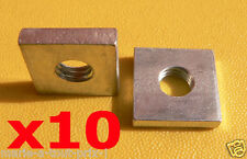10 écrous carrés 18mm x 18mm x 4mm M8 ZING diamètre boulon 8mm