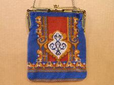 Micro Beaded Evening Bag , Brass & Jeweled Frame Antique