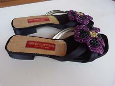 ANDREA PFISTER COUTURE Beaded w/ FLOWER Slide On MULES SHOES...size 7.5