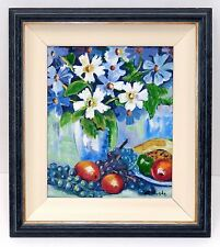 Mid Century Fruit Floral Oil Painting Signed Murphy Custom Frame