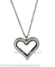 Stainless Steel Crystal CZ Heart Love Floating Charm Locket & Chain Necklace