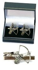 Archery Cufflinks & Tie Clip Bar Slide Mens Gift Set Bow & Arrow Hunting Present