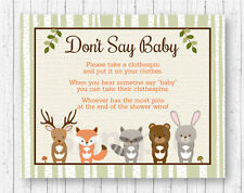 Woodland Animals Dont Say Baby Baby Shower Game Printable