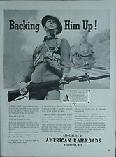 """1941 ASSOCIATION OF AMERICAN RAILROADS ADVERTISEMENT (WWI """"DOUGHBOY"""" PICTURE"""