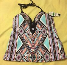 Kenneth Cole NY - Tankini Halter Swimsuit Top South West  print - Large - NWOT