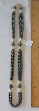 "HEMATITE (4MM & 10MM) & FRESH WATER PEARL BEADS-24"" STRAND W/LOBSTER CLAW CLASP"