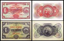 !COPY! CABO VERDE 50 ESCUDOS 1921 & 100 ESCUDOS 1921 BANKNOTES !NOT REAL!