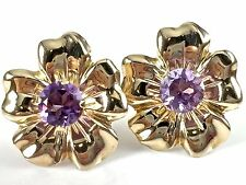 14k Yellow Gold .80 ct Natural Round Faceted Amethyst Flower Stud Post Earrings
