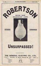 GENERAL ELECTRIC CO Robertson Incandescent Lamps-Antique Engineering Advert 1904