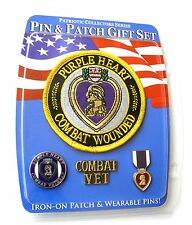 PURPLE HEART COMBAT VETERAN USMC USN USAF ARMY PIN AND PATCH GIFT SET
