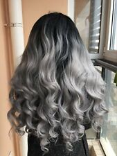 Natural ombre grey body wave hair wigs synthetic lace front wig heat resistant