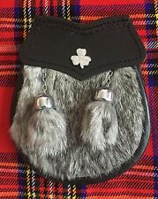 Child's Kilt Sporran Grey Rabbit Fur Irish Shamrock/Kids Sporrans/Boy Sporrans