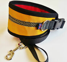 "GREYHOUND / LURCHER DOG COLLAR FLEECE LINED ADJUST] 13"" - 17"" INC FREE LEAD"