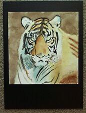"""Original Watercolor Tiger Head 9x9.25"""" Brown & Black Stuart Jones"""