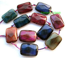 """Rainbow Veins Agate Faceted Flat Rectangle Beads 25×35mm 16"""""""