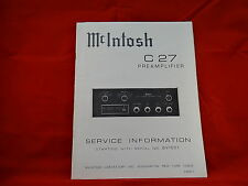 McIntosh C 27 Preamplifier Service Manual