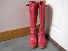 BELSTAFF TRIALMASTER ANTIQUE RED LEATHER KNEE HIGH BOOTS UK 6 EU 39 RRP £475.00