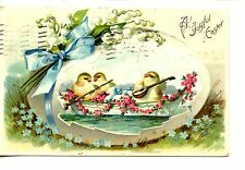 Chicks in Row Boat-Serenade-Instrument-Large Egg-Vintage Easter Holiday Postcard