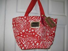 Betsey Johnson Betseyville purse bag Star Red White Animal Print Zebra Stripes