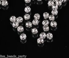 Bulk 100pcs 4mm Round Metal Alloy Hollow Out Loose Beads DIY Findings Silver