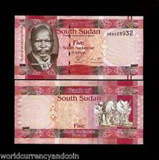 South SUDAN 5 POUNDS NEW 2011 ANIMAL UNC CURRENCY AFRICA MONEY BILL BANK NOTE