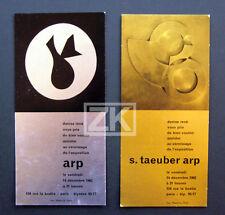 Jean ARP S. TAEUBER 2 Cartons Invitation Denise RENE Sculpture Peinture 1962