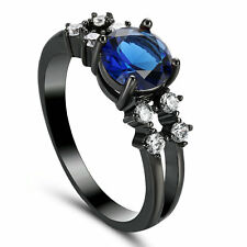 bule Sapphire Solitaire Wedding Rings Women's 10Kt Black Gold Filled Size 7.5