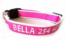 ECO Friendly Personalized Embroidered Bamboo Dog Collar - Pink and White