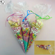50 Party Cone Clear Cello Bags Sweet Candy Cones Ties large size Kids Birthday