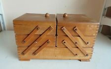 Vintage Old Wooden 3 Tier Sewing Box Basket Storage Stackable Container Craft To