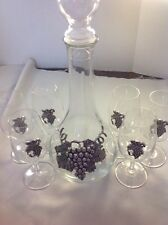 7 piece LUIGI BORMIOLI Wine decanter w/6 glasses LIGHT & MUSIC Crystal Grapes