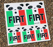Fiat PANDA style sticker decal set Italian Flag Panda Face